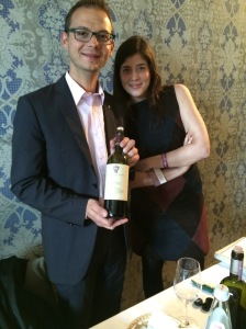 Winemaker Matteo Sasso and Ludovica Cisa Asinari dei Marchesi di Gresy show off their 2009 Tenute Cisa Asinari dei Marchesi di Gresy Barbaresco DOCG during Summa 2014.