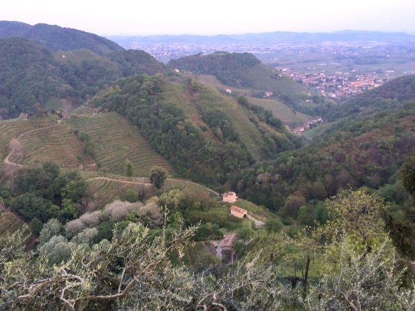 The precipitous hills of the Cartizze DOCG, with Valdobiaddene far below.
