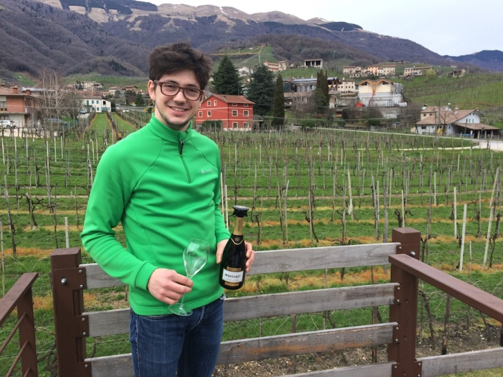 Alessio Marsura sahres his family's prestige Cartizze Prosecco DOCG on a cool spring day in Valdobbiadene.